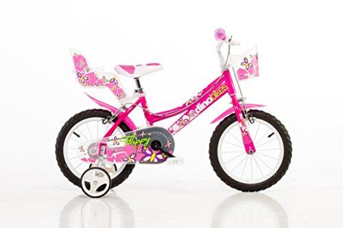 Mädchen Kinderfahrrad pink Mädchenfahrrad - 14 Zoll | TÜV geprüft | Original | Kinderrad mit Stützrädern - Das Fahrrad als Geschenk für Mädchen