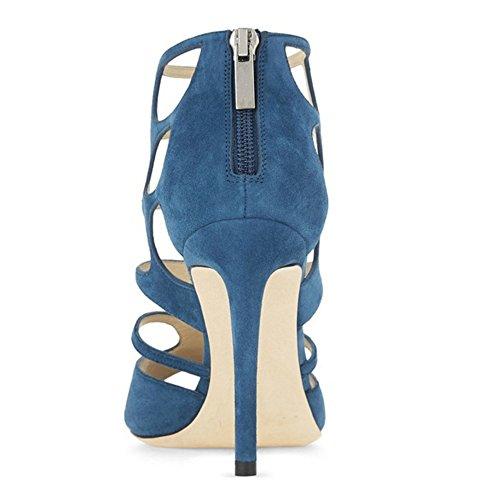 Gladiatori Blu Cava Posta Sandali Toe Peep Donne Stiletto Coolcept XRqSSP
