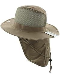 JFH Group Wide Brim Men Safari Outback Summer Hat With Neck Flap - Khaki  Medium fd6d9ff26adf