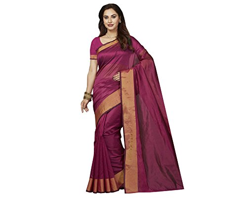 Ishin Poly Silk Purple Party Wear Wedding Wear casual Daily Wear Festive Wear Bollywood New Collection Woven with Zari Border Latest Design Trendy Women's Saree/Sari  available at amazon for Rs.399