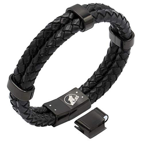 Lederarmband Herren schwarz | Armband Männer | Wolflock