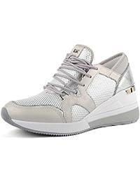 e388e8d394c9ab Michael by Michael Kors Chaussures Scout Baskets en Cuir Argent et Blanc  Femme