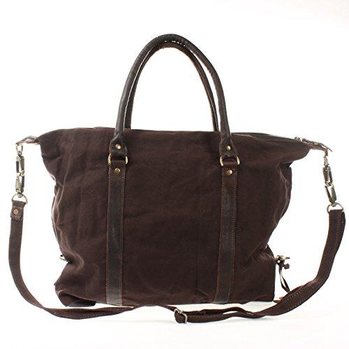 LECONI XL Shopper Damen Herren Unisex Handgepäck kleiner Weekender Canvas Leder 50x38x12cm LE2006-C mokka / dunkelbraun