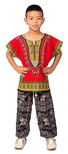 Lofbaz Niños Tradicional de impresión de África Camisa Dashiki Rojo