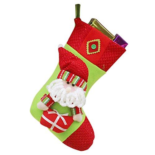 Yilianda grande calza di natale con decorazione 3d fatta a mano in non tessuta disegni calza pupazzo di neve renna babbo natale ornamento natalizio da appendere