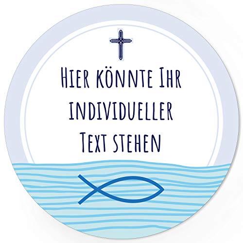 24 INDIVIDUELLE runde Etiketten SELBER GESTALTEN: Blau Fisch Kreuz - Personalisierte Aufkleber für Taufe, Konfirmation, Kommunion, Ostern, Weihnachten