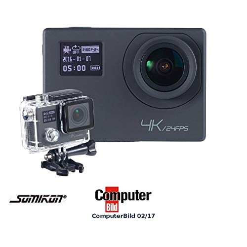 Somikon Actioncam 4K: 4K-Action-Cam für UHD-Videos, 2 Displays, WLAN, 16MP-Sony-Sensor IP68 (Zeitraffer Kamera)