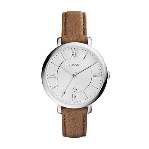 Fossil ES3708 - Reloj de cuarzo con correa de cuero para mujer, color plateado / marrón