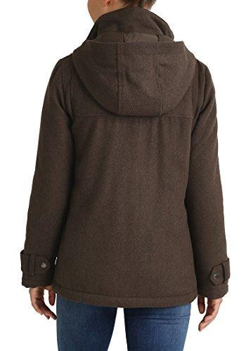 DESIRES Penna Damen Winter-Mantel Wollmantel Dufflecoat mit Stehkragen und gefütterter Kapuze aus hochwertiger Woll-Mischung Coffee Bean
