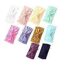 Baby Nylon Headbands Hairbands Hair Bow Elastics for Baby Girls Newborn Infant (Multicolor-QSPB10)