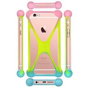 Casotec Universal Silicone Bumper Frame Soft Gel Phone Case Cover for Intex Aqua Speed HD - Multicolor