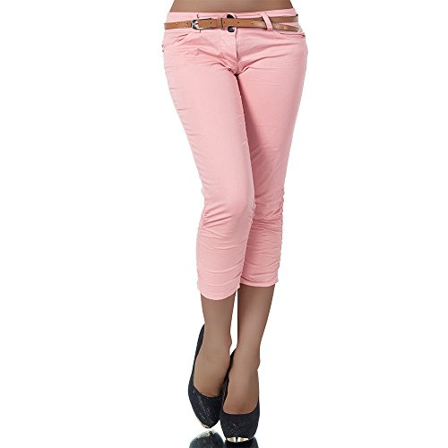 H968 Damen Chino Hose Stoffhose Capri Bermuda Sommerhose Boyfriend Shorts Gürtel, Farben:Rosa;Größen:38 (M)