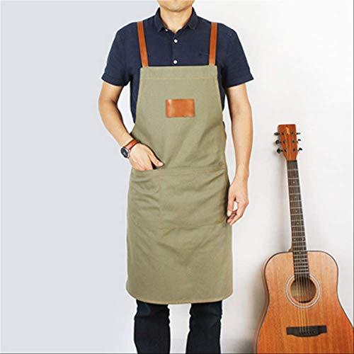 FHFF Schürze 2019 BBQ Cotton Canvas Apron Bib Leather Straps Chef Kitchen Apron for Women Men Pockets Barber 80X70Cm Khaki -