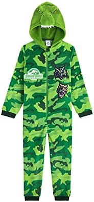 Jurassic World Pijama Niño de Una Pieza, Pijama Dinosaurio con Capucha, Pijamas Niños Enteros Forro Polar, Reg