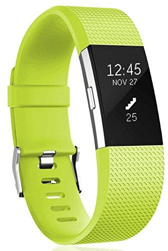 Ersatz Fitbit Charge 2 Armband, HUMENN Weich Verstellbares Armband mit Klassisch Schnalle für Fitbit Charge 2 Small Grün (Große Greenies)