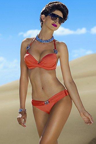 Ewlon Kalifornia Bezaubernder Bikini Für Damen, Neckholder, Top Qualität, Made In EU Orange