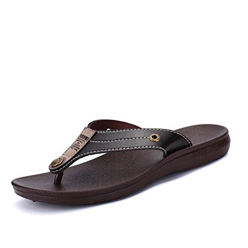 Chaussons pour hommes, Chaussons en cuir dété, les chaussures de plage, tongs hommes brown