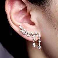 Metmejiao Crystal Drop Earrings CZ Vine Jewelry Sweep Wrap Crystal Silver Leaf Ear Cuffs Set Stud Earrings for Women mj-629-k