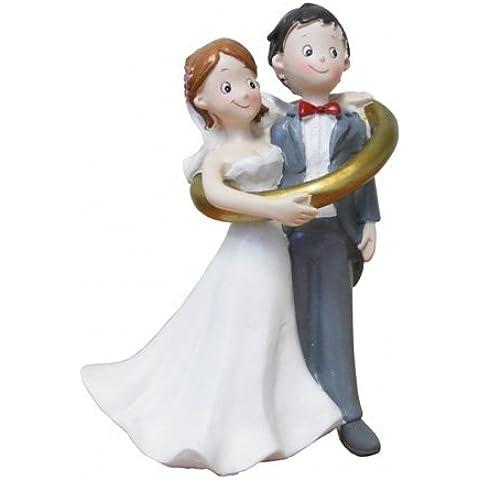 Figuras torta Boda 14 cm Pareja de Novios en el anillo de bodas Novios Divertido para Decoración de pastel Mesa decorativa