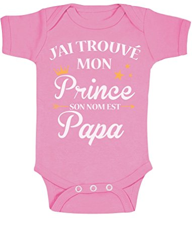 J'Ai trouvé Mon Prince C'est Papa Cadeau pour Papa Bodysuit Manche Courte Body Bébé Manche Courte 6-12 Mois Rose