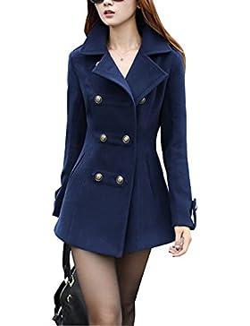 Abrigo Trench Mujer Chaqueta Solapa Manga Larga Doble Botones Coat Jacket