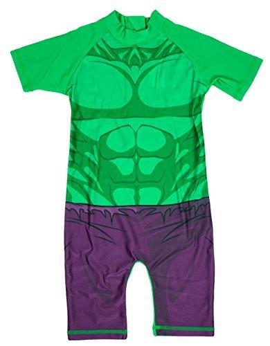 Jungen Unglaubliche HULK alles in eins Sonnenschutz Surf Badeanzug Kostüm größen von 1,5 bis 5 Jahre - Grün, 2-3 Years