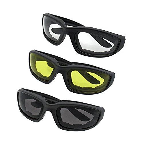 Kerocy 3 Paar Motorradbrille Smoke Clear Gelb Grau Transparent Fahrrad Outdoor Sport Radfahren Brille