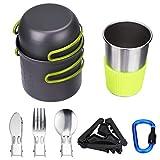 KEESIN 11 en 1 Kit de Batterie de Cuisine en Plein air Casserole Portative pour 1-2 Personnes en Camping Randonnée Pédestre et Randonnée
