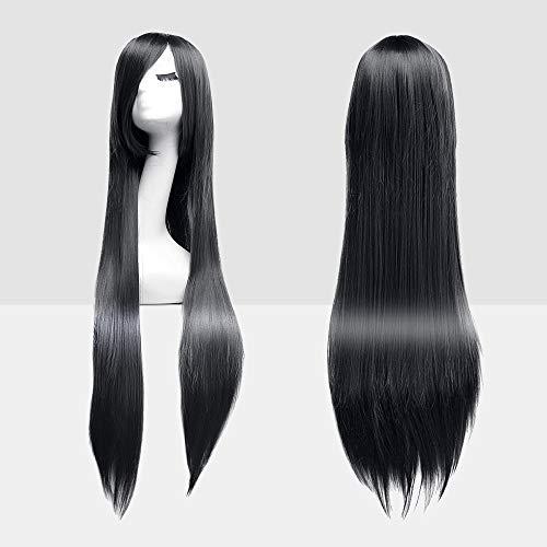 l Perücke Cosplay Schwarz Glatt mit Haarnetz. Lang Voll, Fashion Kostüme Damen Haarteil Cosplay Wig für Alltag, Party Perücke Lang,Halloween ()