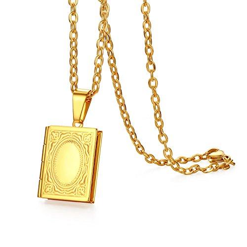 Oidea Hombre Mujer Libro Colgante con Collar de Oro, Vintage Grabado Acero Inoxidable Foto medallón Ovalado Photo imágenes Amuleto portatil Cadena