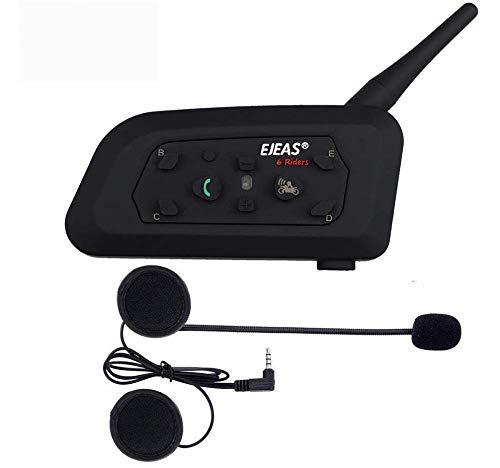 OKEU V6 Pro Interfono Casco Moto, Interphone con Auricolari Bluetooth per Casco Moto Comunicazione da 1200m tra 6 Motociclisti, Cuffie Interfono Bluetooth per Moto (1xV6 pro)