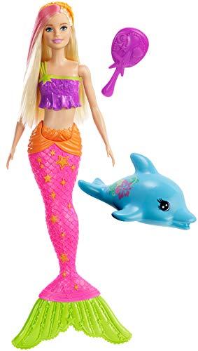 Barbie sirena con delfino, bambola e accessori, per bambini 3+ anni, ggg58