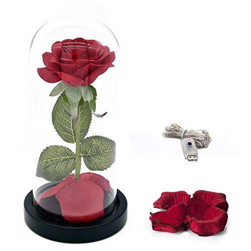 LED Romantic Simulate Rose Light, mit Glass Shield Holzsockel für Dekor USB Schwarz