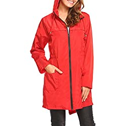Hotouch Chaqueta Impermeables Para Mujer Con Capucha Rojo S