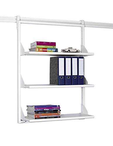 Legamaster 7-305100 Bücherregal für Legaline Professional Wandschienensystem, 3 verstellbare Böden, 85 x 108 cm