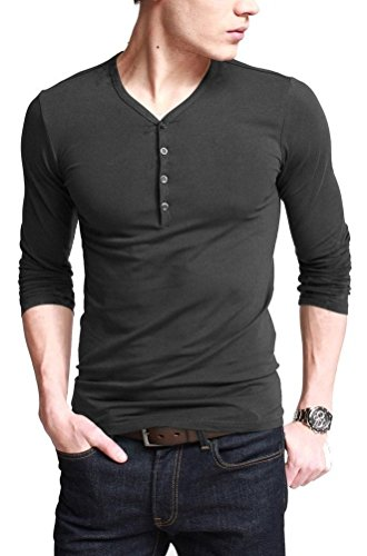 Sugar Pocket Mens Henley T-Shirts With Long Sleeve Button Placket