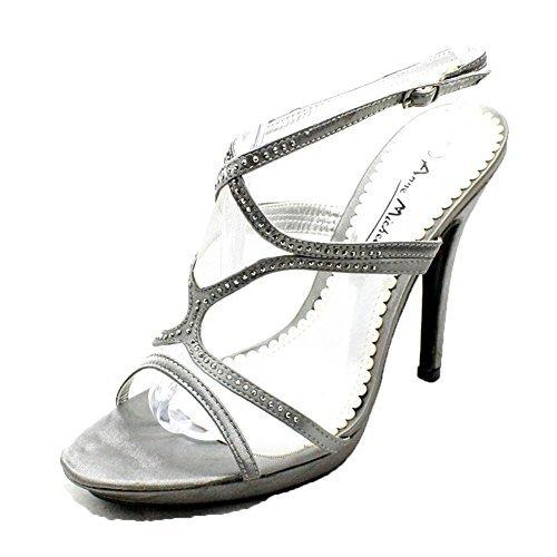 Mesdames diamante cloutées à talons hauts chaussures bride à la cheville du parti Étain