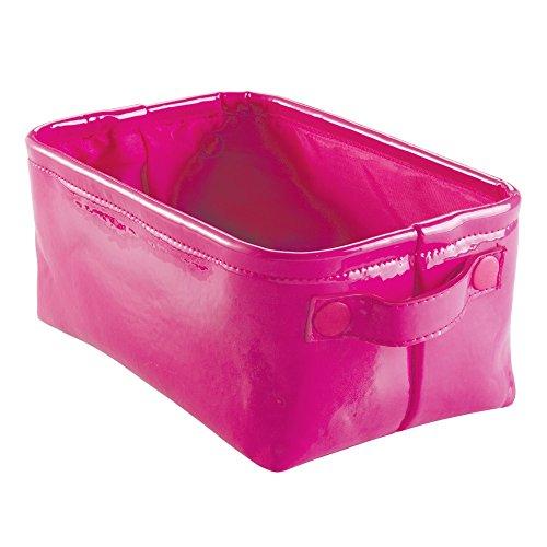 InterDesign 62382EU Remy Aufbewahrungsbox aus Veganem Lackleder für Bad, Spa - Klein, Plastik, rosa, 31.75 x 18.288 x 15.24 cm