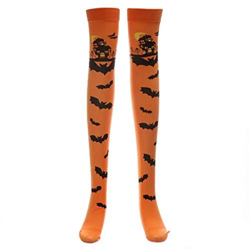 Senoow Halloween Scary Castle Bat Oberschenkel Hohe Strümpfe Lange Socken für Cosplay Karnevalsparty Kostüm (Orange)