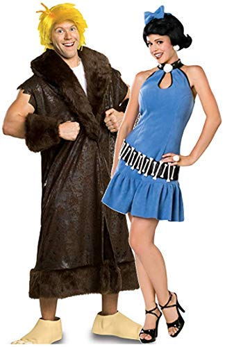 Couples Mens & Ladies Fancy Dress Betty AND Barney Rubble The Flinstones Prehistoric Costumes Outfits (Ladies UK 12-14 & Mens STD)