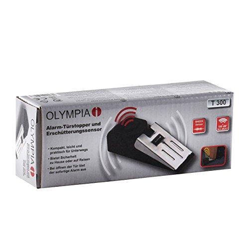 Olympia T300 Alarm-Türstopper und Erschütterungssensor (1 Stück) - Silber Schwarz