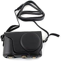Kamera-Tasche aus PU Leder Hülle Schutztasche mit Leder-Band für Samsung Galaxy EK-GC100 GC110 ( Schwarz ) Leder-Gurt Strap Leder-Riemen Abdeckung Schutz Schultergurt Schulterriemen