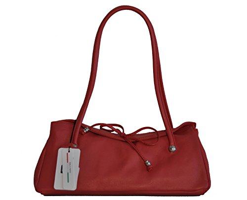 Borsa donna Vannini in vera pelle modello baguette rosso