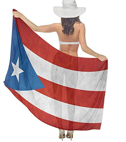 Qinckon Puerto Rico Flag Tree Women Chiffon Pareo Beach Wrap Scarf Cover Up for Vacation