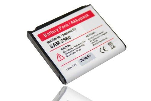 vhbw Li-Ion Akku 700mAh (3.7V) für Handy Smartphone Telefon Samsung SGH-Z370, -Z560, -Z560V, -Z620, -Z720 wie AB553443CE, AB553443CU.