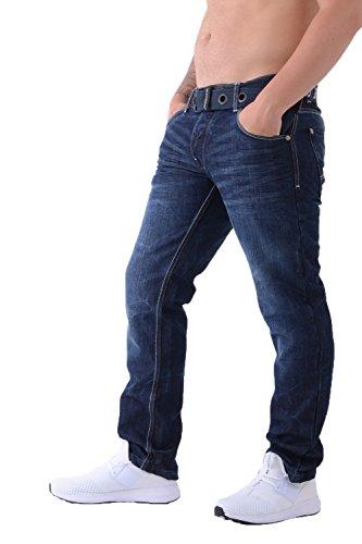 Mens Crosshatch Classic Jeans für Herren, Denim, stilvoll, gerades Bein, normale Passform, alle Taillengrößen, inklusive Gürtel Gr. 40 W/32 L, Techno Dark Blue