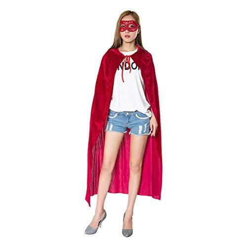 Zhhlinyuan Leicht Weihnachten Halloween Kapuzenumhang mit Lace Mask - Niedlich Rot Umhänge zum Erwachsene (Harry Potter Halloween Kostüme Einfach)