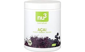 nu3 Premium Bio Acai-Beeren Pulver getrocknet, 65g - Die Power-Beeren vom Amazonas; Rohkost-Qualität durch schonende Trocknung