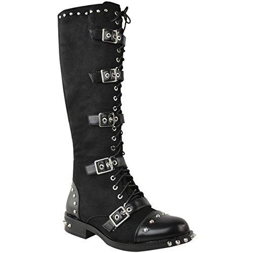 Damen Stiefel mit kniehohem Schaft - Spike-Nieten-Details - im Punk-/Rock-Stil - Schwarz Kunstleder - EUR 39