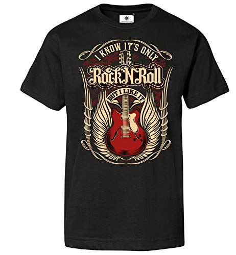 Customized by S.O.S Herren T-Shirt It´s only Rock´n´Roll but I Like it (XL, Schwarz)